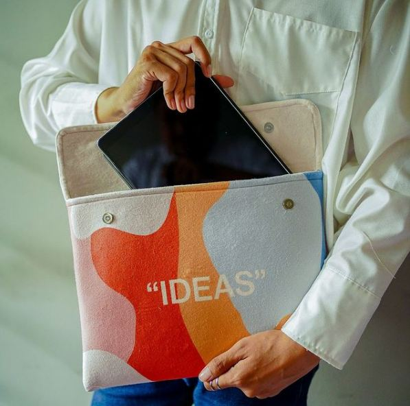 """Special Gift"""" """"IDEAS"""" Sleeve in detail and used for Ipad"""